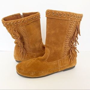 MINNETONKA Luna Brown Suede Fringed Boots Size 9